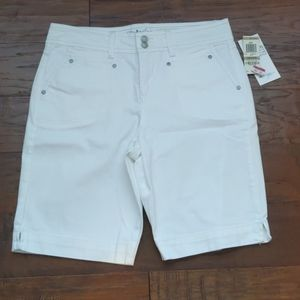 Style & Co white Jean Bermuda tummy control shorts